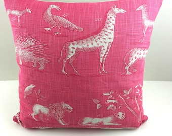 A beautifully classy hot pink animal print cushion / pillow cover, bright cushion cover, perfect gift, housewarming, birthday.