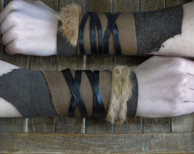 Leather Cuffs - Warrior Viking Tribal Larp Costume Cosplay - Pair #14e