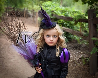 Witch Costume for GIRLS Halloween Wicked Witch dress like the Wicked Witch of the West in purple and black  sc 1 st  Etsy & Witch Hat for Wicked Witch of the West of Oz or Wicked Costume
