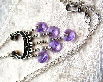 Swarovski Pewter Focal Component Necklace with Violet Rivolis, Sterling Beads, and Sterling Chain