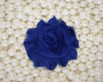 Chiffon Flower Hair Clip Royal Blue Frayed Shabby Chic Rosette Fabric Flower Clippie