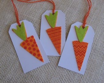 Easter Carrot Gift Tags / Set of 6 / Gift Embellishment / Treat Sack Tag / Orange Green White / Funny Gift Tag
