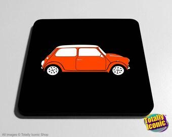 Mini Classic ORANGE Drinks Coaster Mat - Classic Mini - Mini Cooper - Austin Mini Car