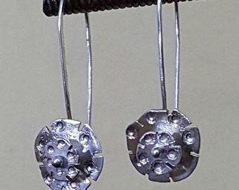 Cogwheel Dangle Earrings Fine Silver Handmade