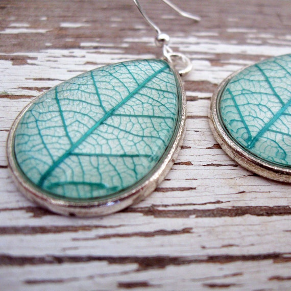 Real Botanical Earrings - Teal and Silver Teardrop Pressed Leaf Earrings