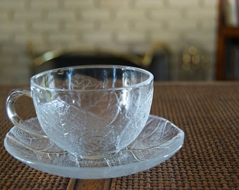 Arcoroc Aspen cup and saucer set. One set.  Tempered glass  Made in France