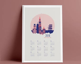 SALE -50% 2018 Calendar Antwerp - 2018 calendar  - Calendar poster - Screenprint  - hand-pulled -  high quality paper