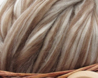 Mixed Shetland Wool Top Roving - Undyed Natural Spinning  & Felting Fiber / 1oz