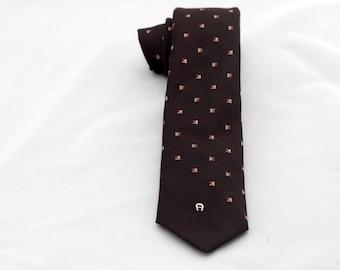 Vintage Men's Brown Tie/ Retro Brown Necktie