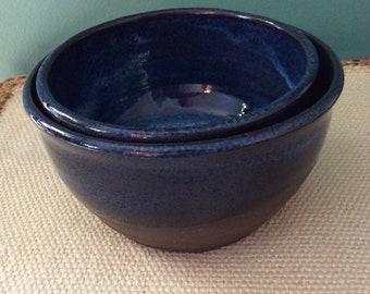 Set of 2 handmade nesting bowls-ceramic-stoneware-pottery- blue-mixing-ready to ship-serving bowls