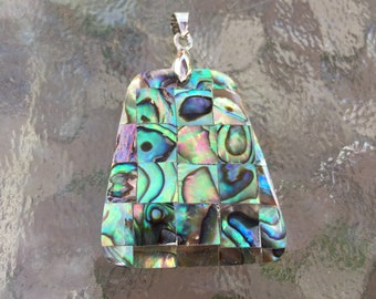 Natural abalone shell and mother of pearl mixture pendant with pinch bail, hand made, 2 x1 1/4 inch