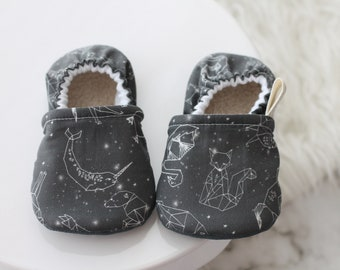 12-18 Months Astronomy Baby Shoes, Baby Boy Shoes, Baby Girl Shoes, Gray Baby Shoes, Baby Booties, Baby Girl Moccasins, Baby Shoes