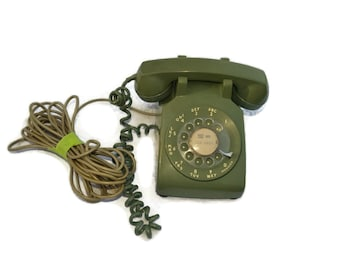Vintage Green Rotary Telephone, Bell System by Western Electric Dial Phone, Old rotary phone, Vintage phone, Retro phone