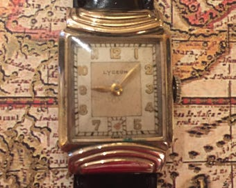 LYCEUM Watch, Swiss Watch, 10K Gold Filled ,Mens Vintage, 17Jewel, Hidden Lugs, Art Deco, Rectangular, Two Tone Dial, Gold Hands, Numeals