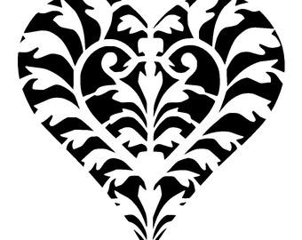 """12/12"""" Vintage design heart stencil 5."""