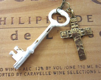 Vintage Skeleton Key with Rustic Cross Long Necklace