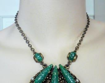 Vintage Confetti Green Lucite Pendant Necklace Faux Pearls Antique Art Nouveau Large Chunky Art Deco Retro Statement
