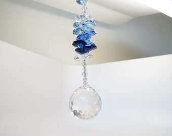 Swarovski Crystal Ball Suncatcher, Dark Sapphire, Sapphire And Aquamarine, Rainbow Light Catcher, Home Decoration, Keira's Crystal Creations