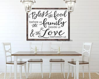 Bless The Food Before Us Sign Rustic Wood Kitchen Dining Room