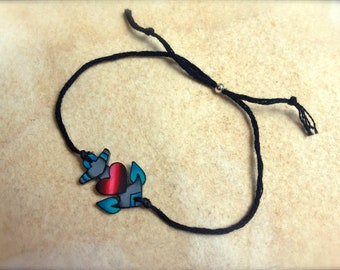 Cute aqua green and pink tattoo style nautical anchor with heart best friend friendship wish bracelet fully adjustable
