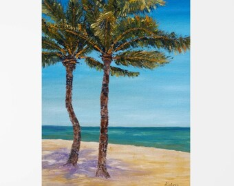 "Beach art Beach painting Ocean art Beach canvas art Florida art Florida painting Florida wall art Key west wall art Palm Oil painting 11x14"""