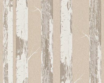 Contemporary Metallic Paper Birch Wallpaper R4364