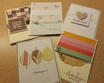 Set of 5  Handmade Thank You Cards. Assorted Thank You Cards. Gratitude.