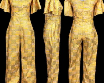 Vintage pant suit, yellow pant suit, vintage yellow gold colorful print, RETRO JUMPSUIT romper, bell sleeves, funky