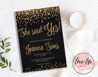 She said YES! Black and Gold Bridal Shower Invitation | Gold confetti Bridal Shower Invitation | Bridal Shower Invite