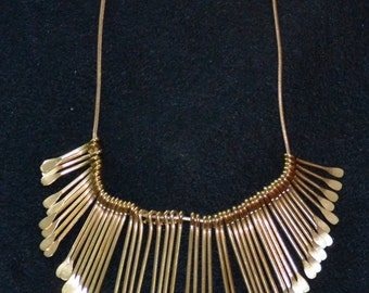 CLEOPATRA style NECKLACE made up of GRADUATED Thin Strands of Gold Tone Drops. Stunning,Mint, from Estate Sale!