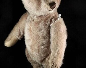 """Antique / Vintage Origial Steiff Teddy, Steiff Teddy, 1950s, Germany,  caramel color, mohair teddy, 32cm / 12.5"""", rare teddy, Germany teddy"""