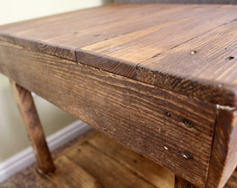Hand Crafted Side Table - Reclaimed wood - Night stand - Natural -Coffee End Table- Rustic Furniture - Desk - Cabin Decor - Two Shelves