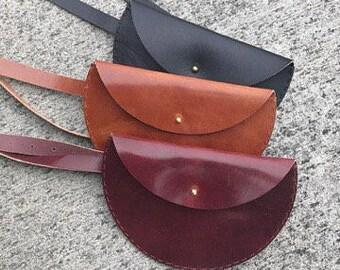Cognac Half Moon Leather Waistbag