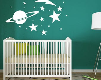Baby Nursery Wall Decal Sticker, Outer space Star Planets, Boys Nursery Decor, Spaceship Room, Galaxy Ceiling Decor, Stars Planets Sticker