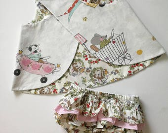 """Baby girl toddler """"The bunny race"""" reversible pinafore bloomers set, baby bunny outfit 2 piece outfit/photo prop"""