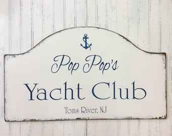 se decor, boating club sign, laCustom personalized yacht club sign, Father's day sign, rustic boating sign, yacht club plaque, river