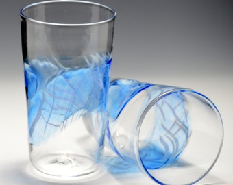 Hand Blown Art Glass Pint Glasses, Tumblers Barware Wedding Registry Gifts