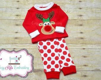 Christmas doll pajamas, Doll Pajamas, Christmas Pajamas, Dolly Pajamas, 18 Inch Doll Pajamas, Embroidered Pajamas