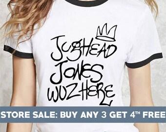 Jughead Jones Wuz Here shirts. tumblr quote funny tshirts tumblr grunge graphic tshirts ringer tee ringer tshirts women shirts riverdale