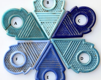 Rare Shades of Blue Antique Glass Talhakimt from African Trade - Qty 1