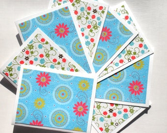 Floral Print Note Cards Set of Eight Blank Note Cards Thank You Cards Greeting Cards Handmade