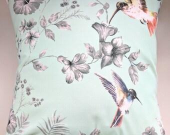"""Cushion Cover in Green Blue Hummingbird Print 16"""""""