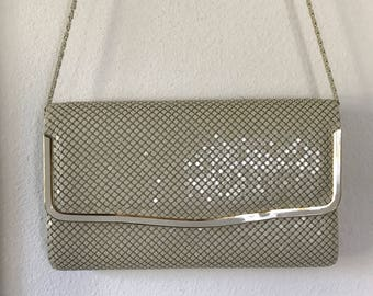 1980s Metal Mesh Clutch Cross Body Beige Handbag