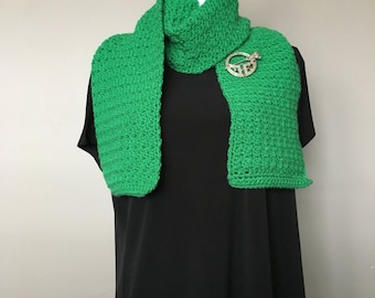 Kelly Green Cobble Stitch Scarf, Green Crochet Scarf, Crochet Neck Warmer, Bright Green Crochet Scarf, Bright Green Neck Warmer, ChunkyScarf
