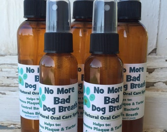 No More Bad Dog Breath NATURAL Dog Oral Care Spray. Dog Tartar Control, Dog Odor, Whitens Teeth, Dog Grooming.
