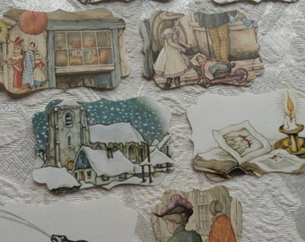 Anton Pieck gorgeous colorful 8 genuine book-fragment deluxe labels! For giftcards, literary cards scrapbooking bookmark DIY