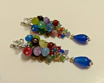 Colorful earrings, cluster earrings, teardrop earrings, blue teardrop earrings, stone cluster earrings, stone drooped earrings