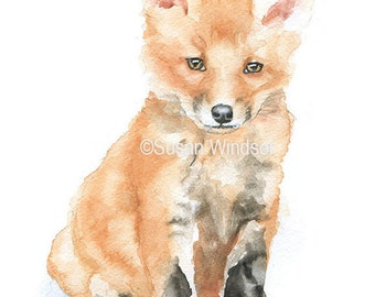 Baby Fox Watercolor Painting 4 x 6 - Giclee Print Reproduction - Nursery Art