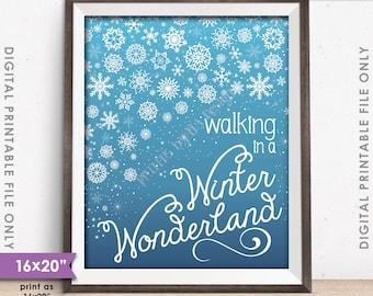 "Walking in a Winter Wonderland Christmas Decoration Snowflakes Snow Flurry, Blue Gradient, 8x10/16x20"" Instant Download Digital Printable"