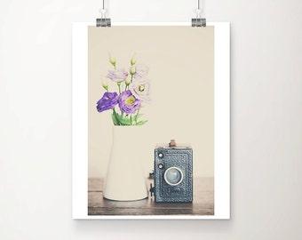vintage camera photograph purple flower photograph retro camera print purple flower print still life photography nursery wall art